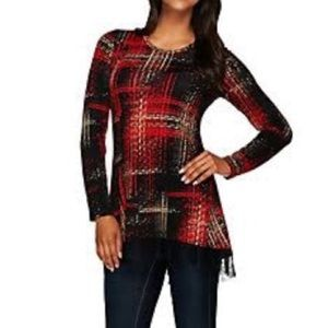LOGO Red Plaid Tunic